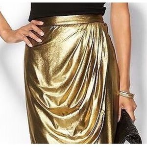 Metallic Gold Wrap Skirt